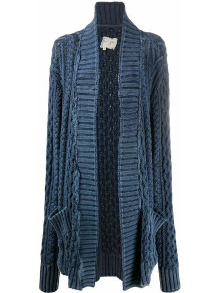 Прямое синее вязаное длинное пальто Greg Lauren