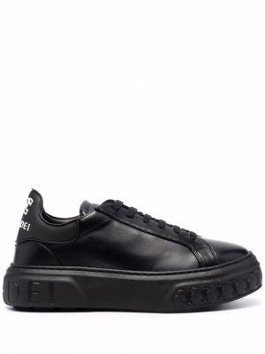 Черные кожаные кроссовки Casadei