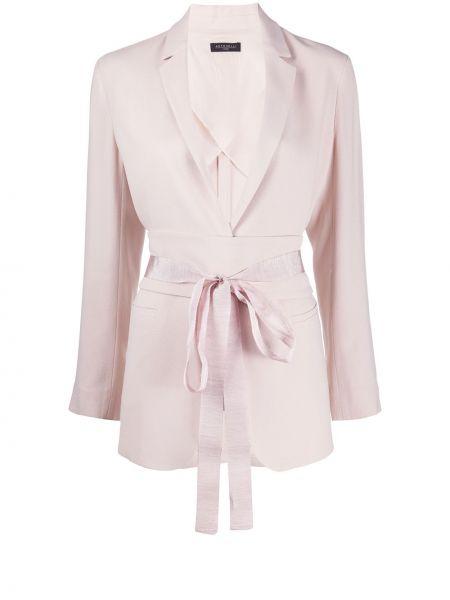 Однобортный розовый удлиненный пиджак с карманами Antonelli