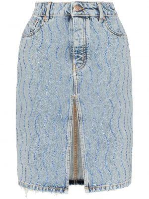 Синяя классическая джинсовая юбка на молнии с карманами Filles A Papa