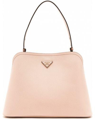Кожаная бежевая сумка на молнии Prada