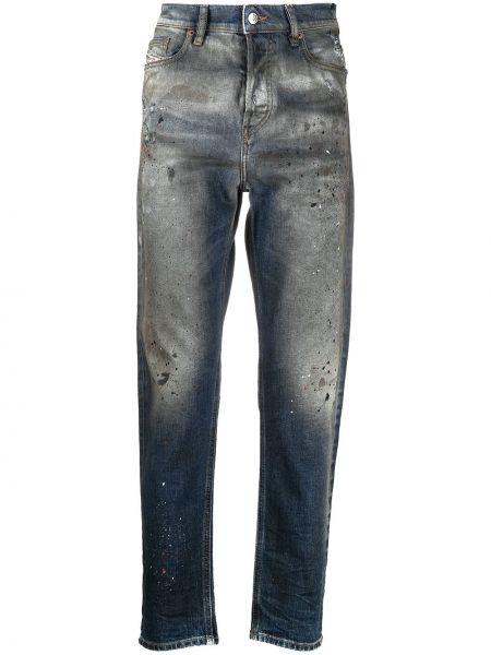 Niebieski klasyczny jeansy z łatami z kieszeniami Diesel