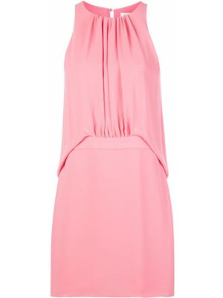Розовое платье без рукавов с вырезом трапеция Halston Heritage