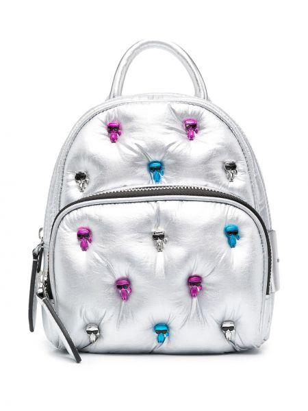 Серебряный кожаный маленькая сумка с карманами Karl Lagerfeld