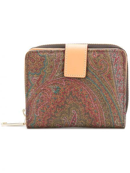 Коричневый кожаный кошелек со шлицей Etro