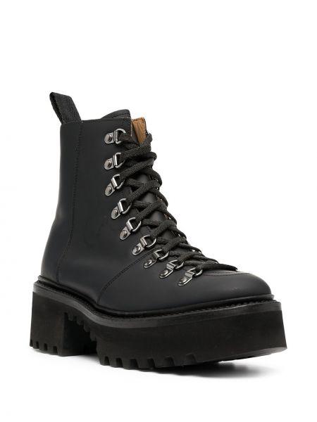 Кожаные черные ботинки на шнуровке Grenson