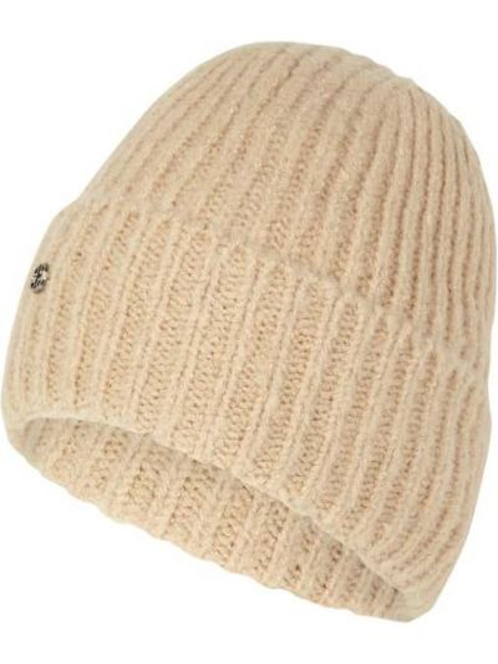 Prążkowana beżowa czapka wełniana Loevenich