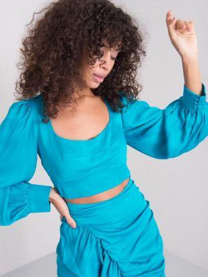 Bluzka z wiskozy - turkusowa Fashionhunters