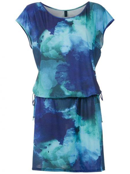 Синее платье мини с вырезом с короткими рукавами Lygia & Nanny