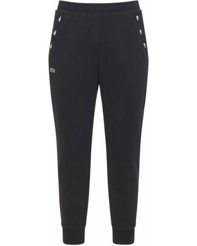 Prążkowane czarne joggery bawełniane Lacoste