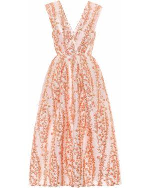 Вечернее платье миди - оранжевое Monique Lhuillier