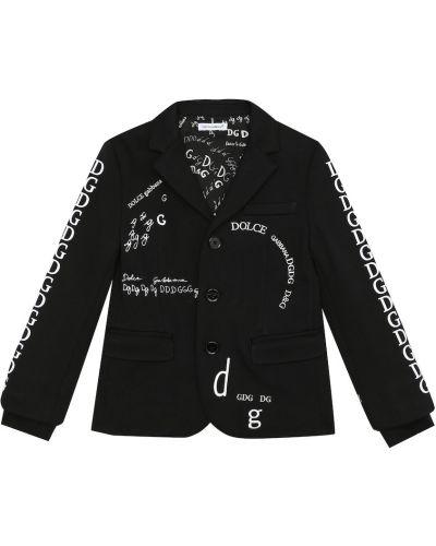 Szkoła bawełna bawełna czarny kurtka Dolce & Gabbana Kids