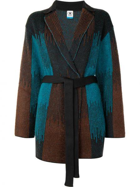 Зеленое шерстяное длинное пальто с лацканами M Missoni