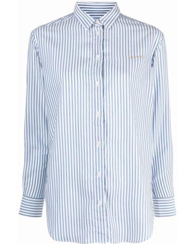 Белая классическая рубашка с длинными рукавами в полоску Maison Labiche