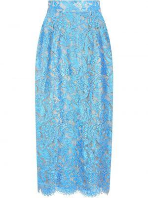 Niebieska spódnica ołówkowa z wysokim stanem koronkowa Dolce And Gabbana