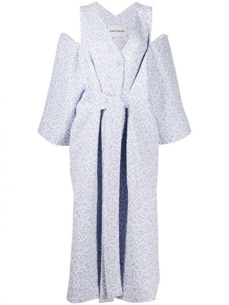 Платье с поясом на пуговицах с V-образным вырезом Henrik Vibskov