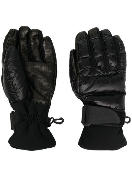 Кожаные черные перчатки с вышивкой Moncler Grenoble
