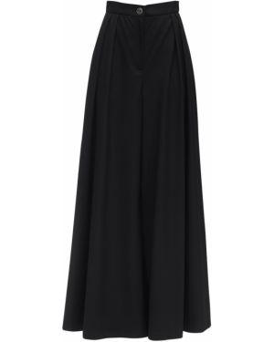 Czarne spodnie z wysokim stanem wełniane Lesyanebo