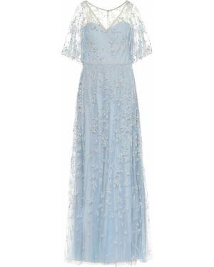 Серебряное вечернее платье из фатина Marchesa Notte