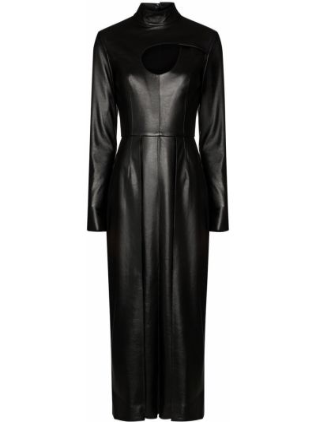 Плиссированное черное кожаное платье миди с воротником Matériel