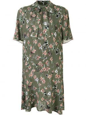 С рукавами зеленое платье мини в цветочный принт Markus Lupfer