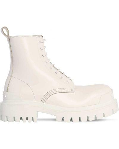 Кожаные белые ботинки на каблуке Balenciaga