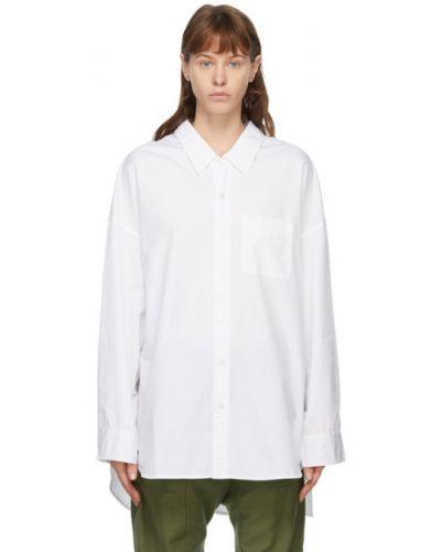 Хлопковая с рукавами белая оксфордская рубашка R13