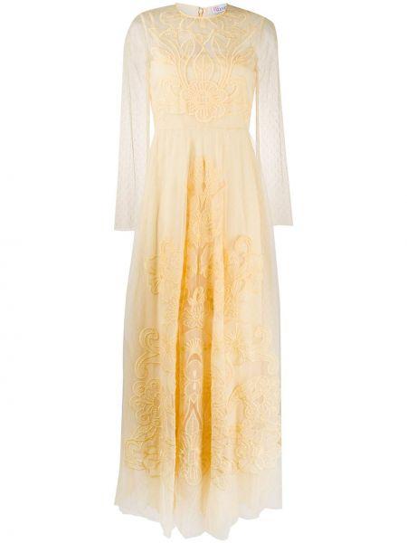 Платье макси с вышивкой с цветочным принтом Redvalentino