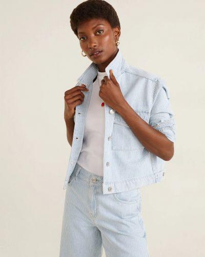 Джинсовая куртка с воротником на пуговицах в полоску Mango