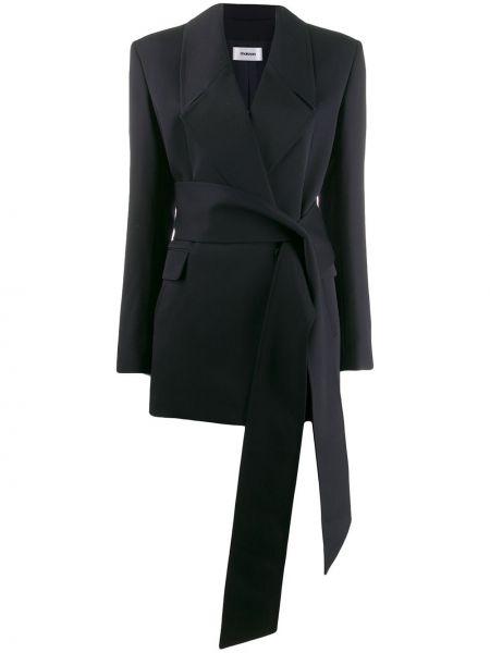 Шерстяной синий пиджак с поясом Chalayan