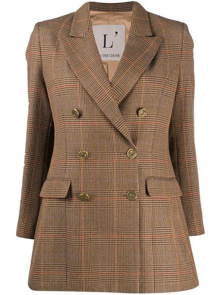 Шерстяной коричневый удлиненный пиджак двубортный L'autre Chose