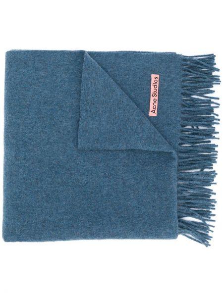 Wełniany niebieski trykotowy szalik przycięte Acne Studios
