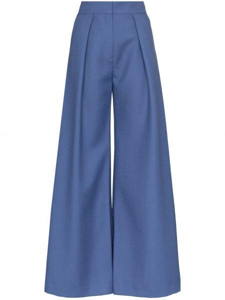 Синие шерстяные расклешенные брюки с карманами Vika Gazinskaya