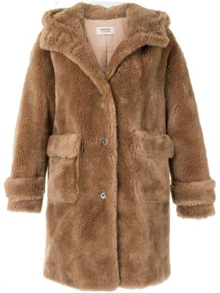 Коричневое шерстяное пальто классическое с капюшоном Yves Salomon Meteo