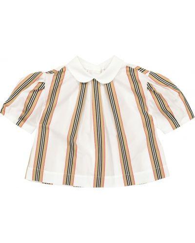 Biały bawełna bawełna bluzka z paskami Burberry Kids