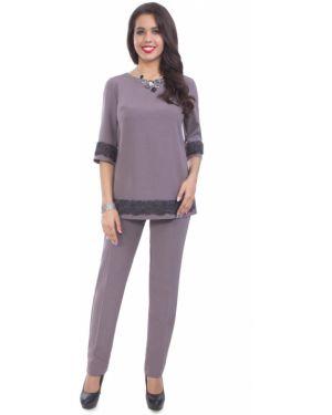 Классические брюки фиолетовые из вискозы Wisell