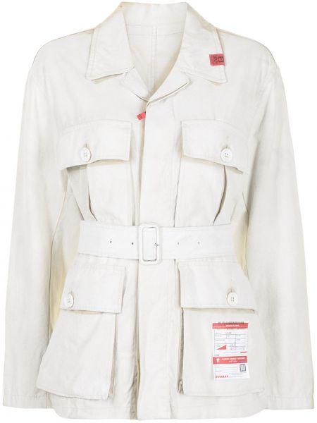 Льняная белая длинная куртка с карманами Maison Mihara Yasuhiro