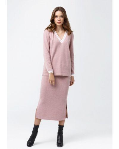 Розовый вязаный юбочный костюм Oks By Oksana Demchenko