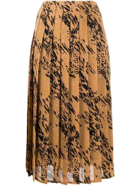 Brązowy pofałdowany spódnica midi Calvin Klein