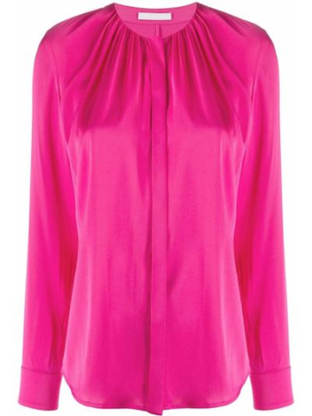 С рукавами шелковая розовая прямая рубашка Boss Hugo Boss