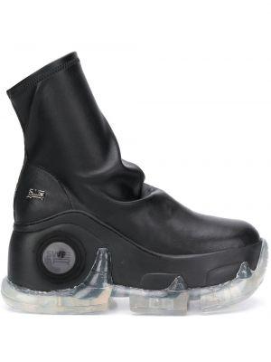 Czarne sneakersy na platformie skorzane Swear