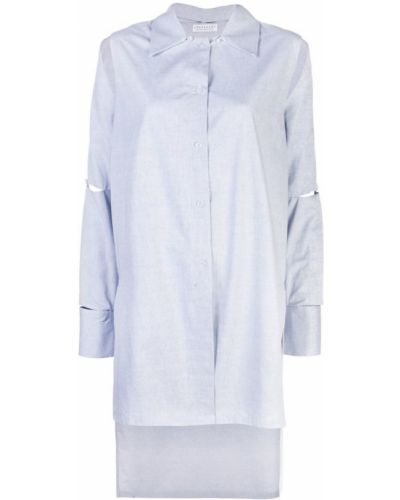 Рубашка с длинным рукавом свободного кроя синяя Dresshirt