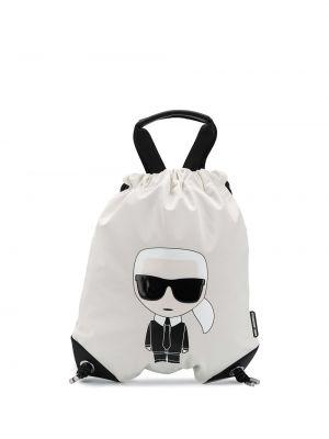 Кожаная белая сумка с ручками на молнии Karl Lagerfeld