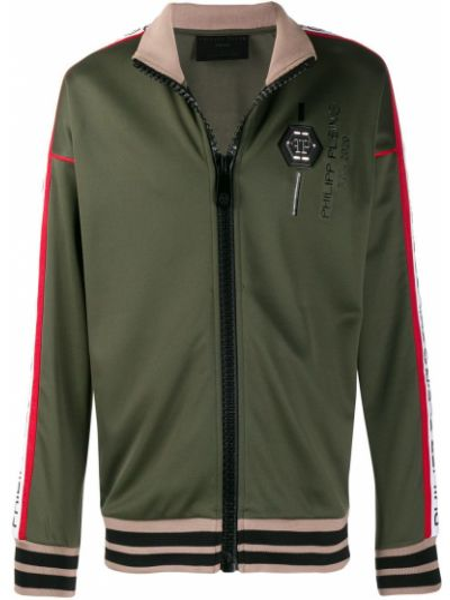 Zielona długa kurtka bawełniana z długimi rękawami Philipp Plein