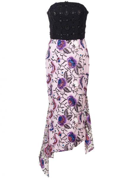 Czarna sukienka asymetryczna z haftem Christian Siriano