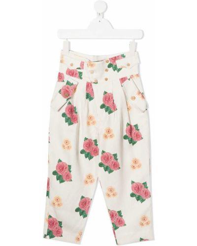 Białe spodnie z wiskozy w kwiaty The Animals Observatory