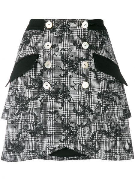 Юбка мини с завышенной талией с карманами Three Floor
