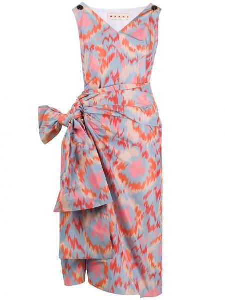 Платье с V-образным вырезом со складками Marni