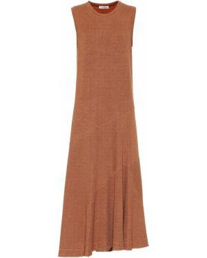 Коричневое льняное платье Jil Sander