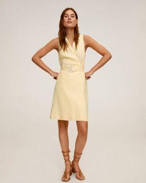 Платье с поясом с V-образным вырезом льняное Mango